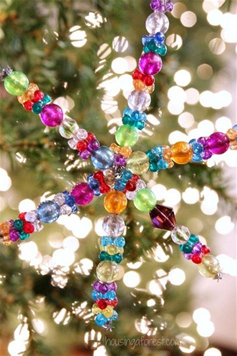 easy beaded ornaments beaded snowflake ornament housing a forest