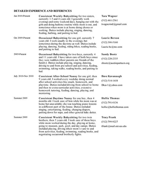 Exles Of Nanny Resume by Exle Resume Best Nanny Resume Exle