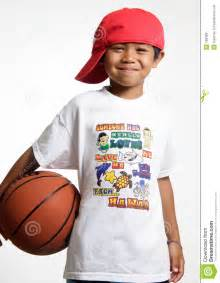 Gym Floor Plan Smiling Young Lad Holding His Basketball Royalty Free