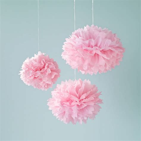 Paper Pom Poms - nine white pink and ivory paper pom poms by lights4fun