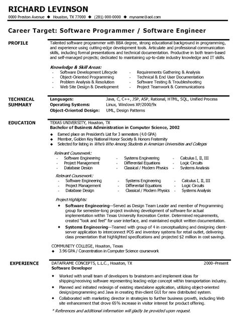 resume format for it experienced software engineer sle cv format for software developer
