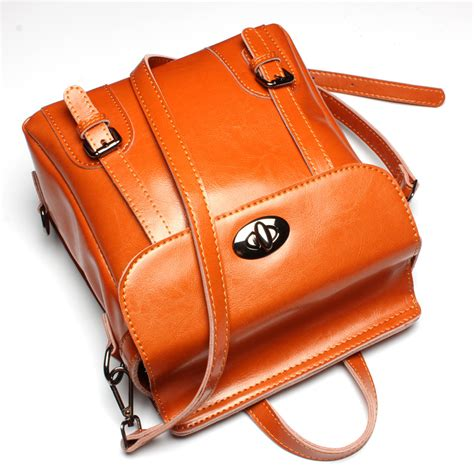 Cowskin Fashion Bag 2 classic vintage backpack wax cowhide school bag