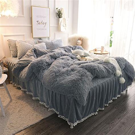 liferevo luxury plush shaggy duvet cover set  faux fur