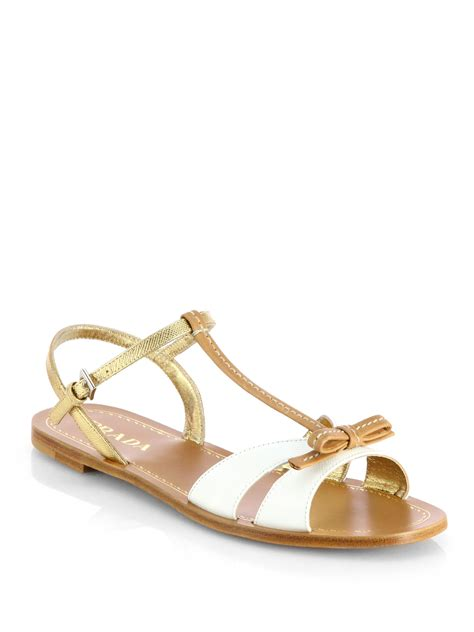 white bow sandals prada bicolor leather bow sandals in brown white lyst
