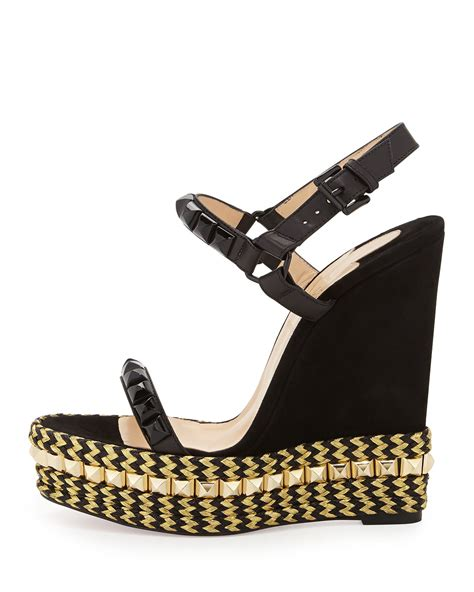 Loubotin Wedges Black 1 christian louboutin cataclou calfskin and suede wedges in lyst
