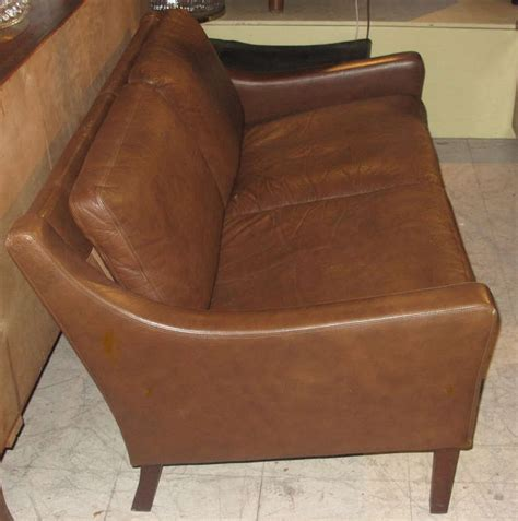 small scale loveseat danish modern small scale loveseat upholstered in leather