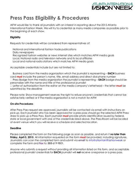 press pass request template press credentials request