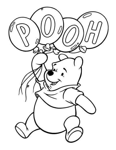 free coloring pages pooh balloons