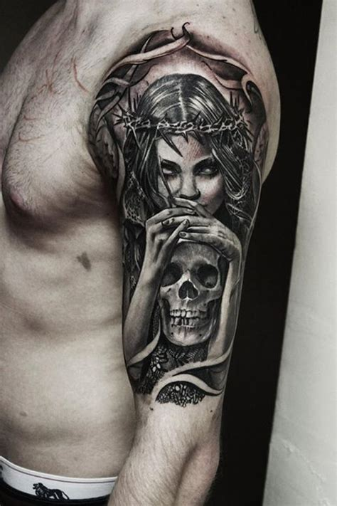 tattoo ideas death left half sleeve designs for