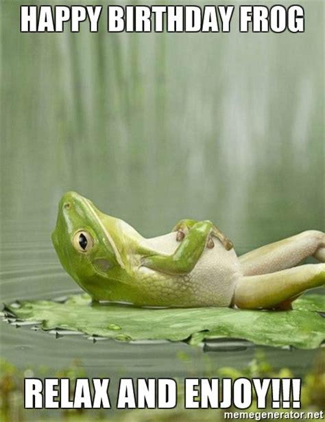 Relaxing Memes - happy birthday frog relax and enjoy idgaf frog meme