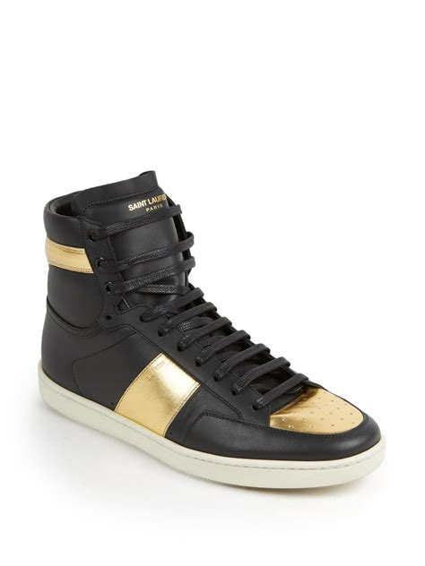 s laurent sneakers laurent metallic colorblocked leather high top