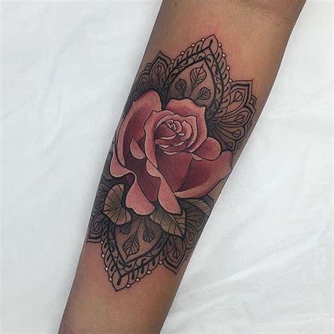 tattoo mandala unterarm mandala rose more beautiful tattoos pinterest