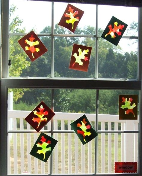 crafts for preschoolers fall leaves window craft made