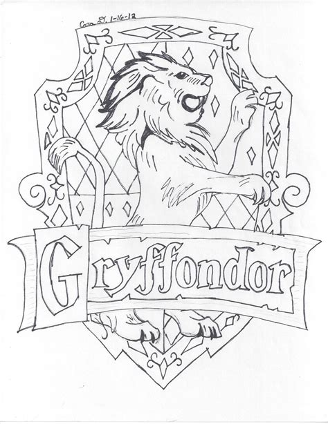 gryffindor logo free colouring pages