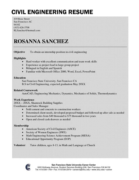 standard resume format for civil engineers sle resume for civil engineer fresher resume ideas