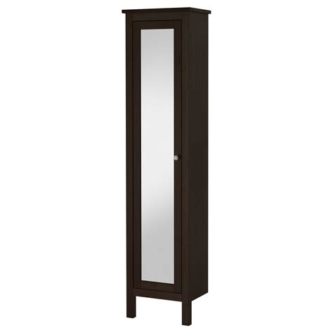 Hemnes High Cabinet With Mirror Door Black Brown Stain Ikea Bathroom Cabinet Storage