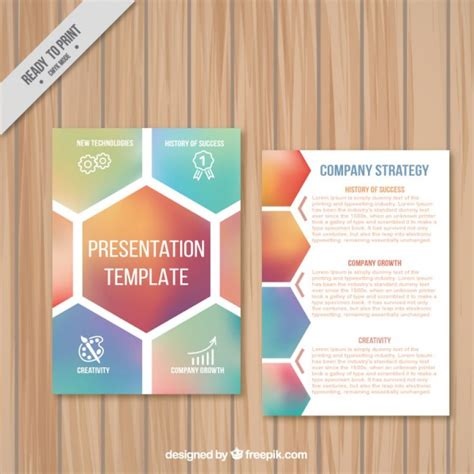 company presentation template with hexagons vector free