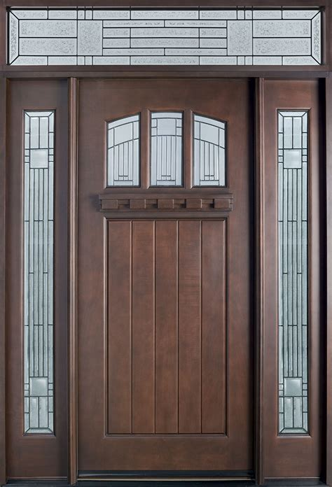 Entry Door In Stock Single With 2 Sidelites Solid Wood Exterior Door
