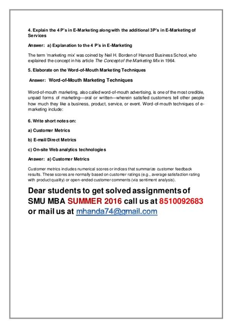 Mba Solved Assignments 2016 by Mk0017 E Marketing 4 Th Sem Mba Summer 2016 Smu Solved
