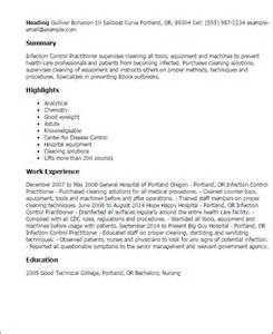 Infection Specialist Sle Resume by Professional Infection Practitioner Templates To Showcase Your Talent Myperfectresume