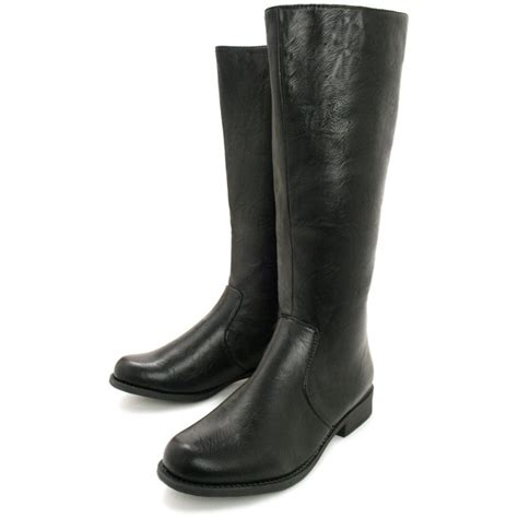 buy flat toggle knee high biker boots black leather