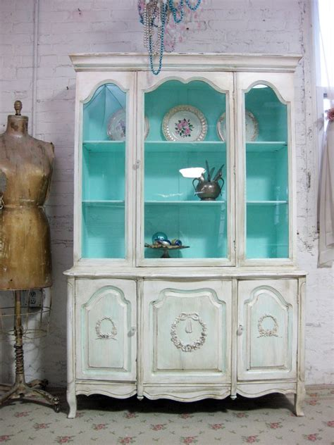 vintage china cabinets vintage china cabinet aqua with tea stain finish