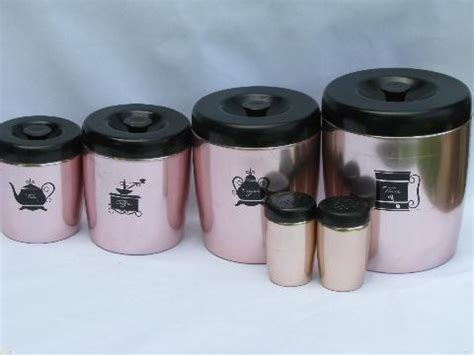 vintage pink kitchen canisters by harvell vintage west bend copper pink aluminum kitchen canisters