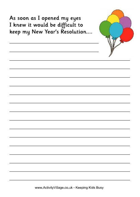 new year s resolution story starter new year activities
