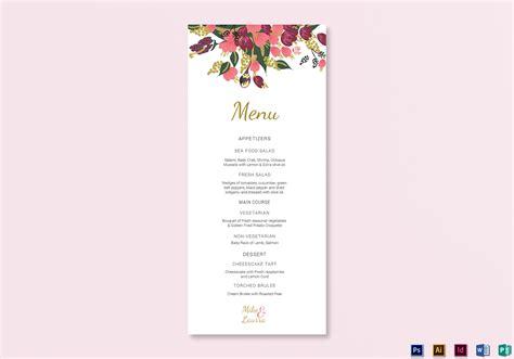 Wedding Menu Card Design Templates by Burgundy Floral Wedding Menu Card Design Templates In Word