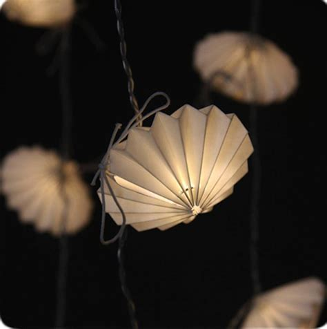 Handmade Paper Lights - origami disc handmade paper light string by the forest