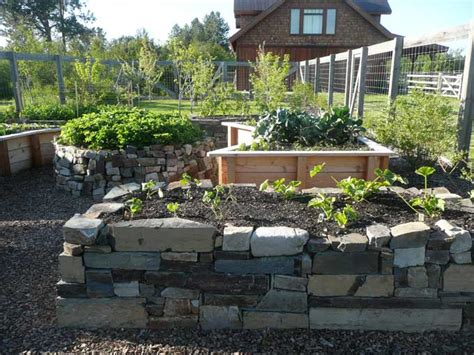 Raised Stone Garden Beds Freshly Built Dry Stack Stone Raised Rock Garden Beds
