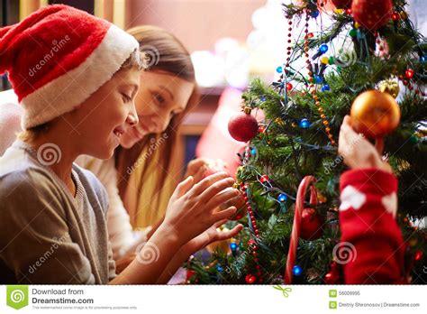 preparing christmas tree stock photo image 56009995