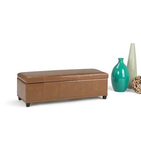 simpli home storage bench simpli home kingsley burnt umber tan storage bench 3axcot 240 bt the home depot