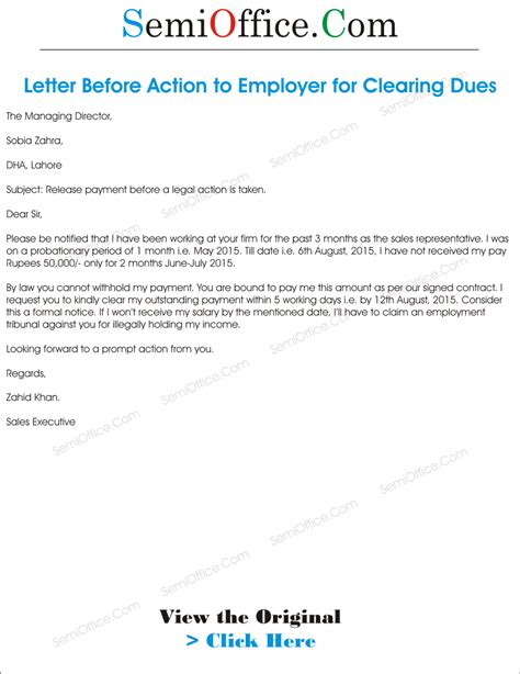 Response To Letter Before Claim Letter Before To Employer