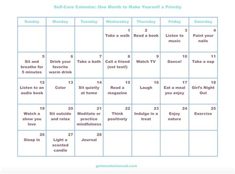 Care Calendar Self Care Calendar For Busy And Get Balanced