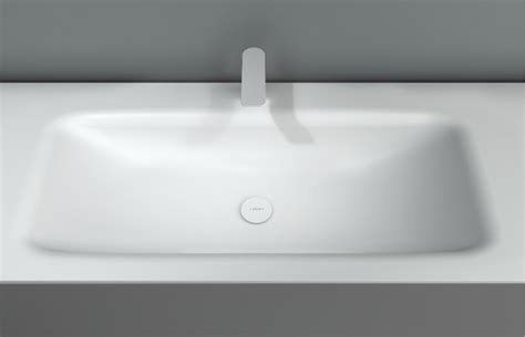 corian integrated basin d3 washbasin with integrated countertop by inbani