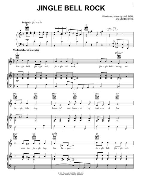 jingle bel rock jingle bell rock partituras por bobby helms piano voz y