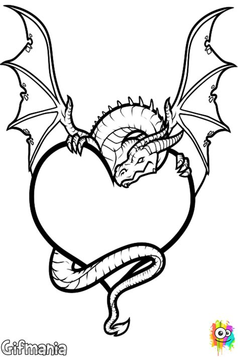 Dragon Heart Coloring Page | free dragon heart coloring pages