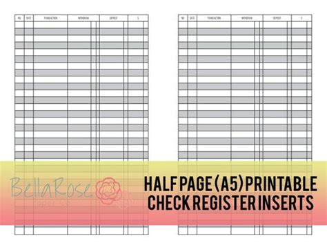 printable check journal a5 half page printable check register inserts budgeting