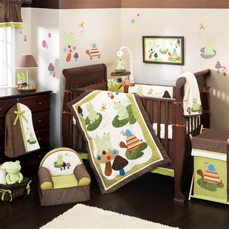 Cool Nursery Bedding Sets Jungle Theme With Brown And Baby Crib For Boys
