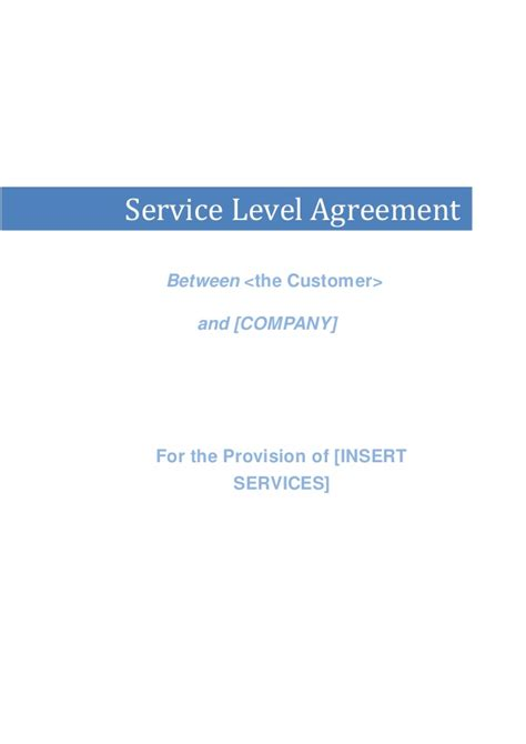 saas service level agreement template sle service level agreement itil service level