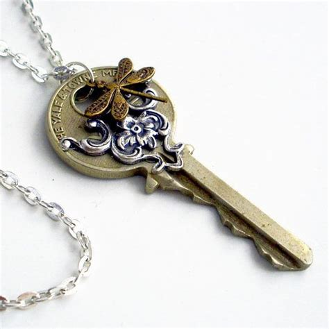 Handmade Recycled Jewelry - recycled dragonfly key necklace dragonfly flying home