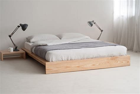 bed without frame unpolished hickory hardwood low profile bed using gray