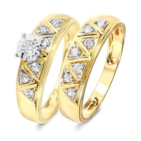 1 3 carat bridal wedding ring set 14k yellow gold