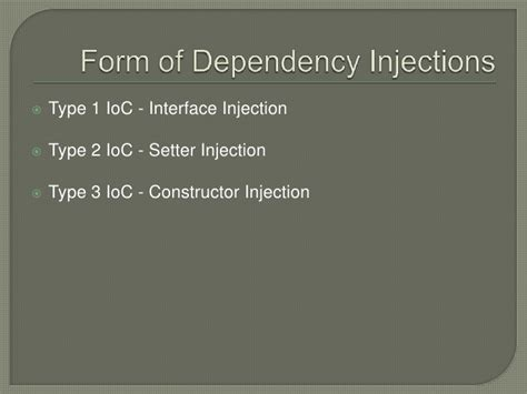 setter dependency injection in java a brief overview of java frameworks