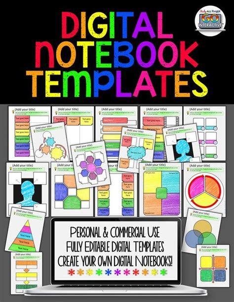 Digital Interactive Notebook Templates For Personal And Commercial Use Notebooks Commercial Digital Interactive Notebook Templates