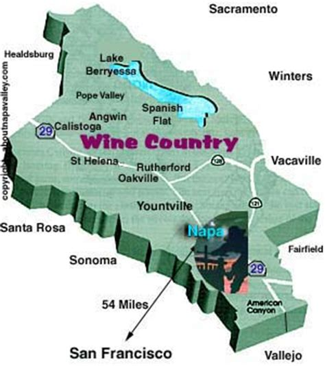 map san francisco to napa valley about st helena california 94574 area code 707 usa