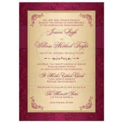 Open House Designs Wedding Invitation Burgundy Gold Damask Printed