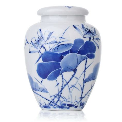 blue and white porcelain blue and white porcelain caddy likes lotus saying