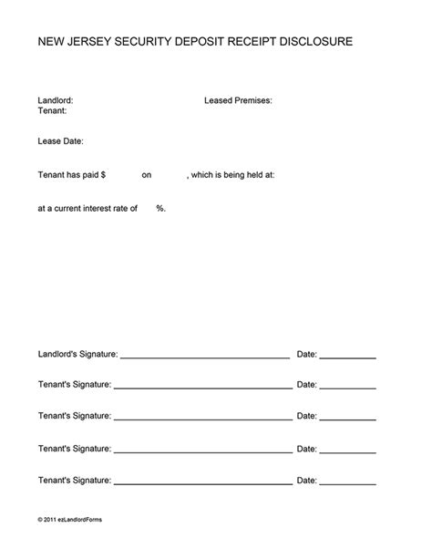 Release Letter From Landlord New Jersey Security Deposit Receipt Disclosure Ez Landlord Forms